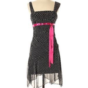 Democracy Dress Black White Polka Dots Pink Waist